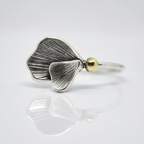 Apple Blossom Petal Ring Silver and Gold