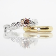 Vintage Morganite and White Gold Solitaire and Simple Diamond Wedding Band.