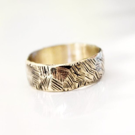 textured mens gold wedding band