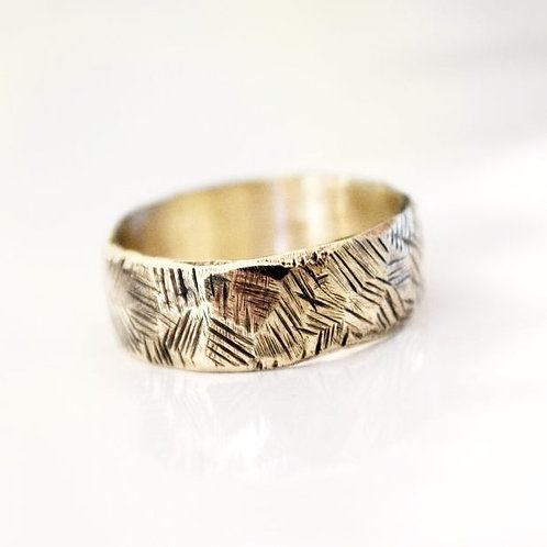 9ct Gold Crosshatch Ring