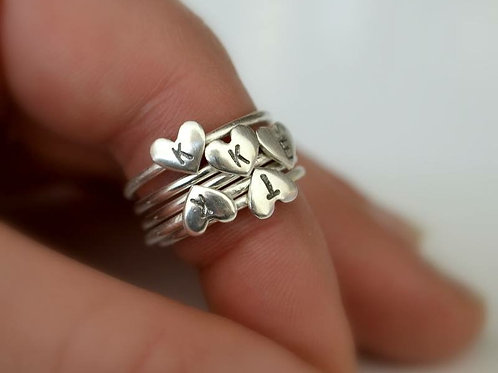 Initialed Heart Ring