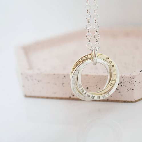 Triple Woven Circle Necklace - 9ct gold.