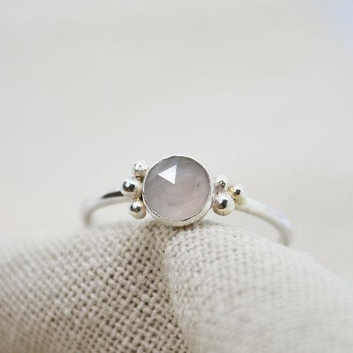 Faceted Rose Quartz Pebble Ring