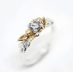 Fairytale Leaf and Berries Engagement Ring