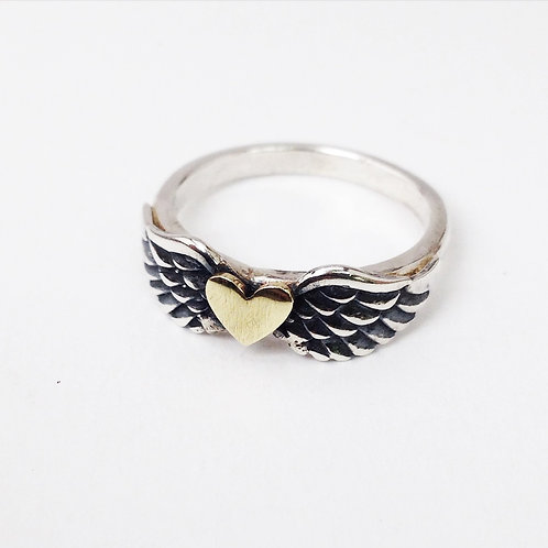 9ct Gold and Silver Heart Wing Ring