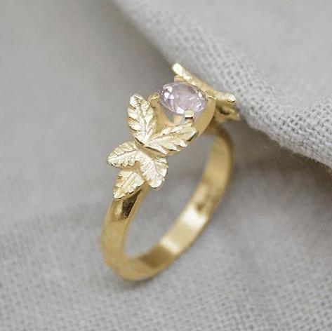 Gold Leaf Engagement Ring