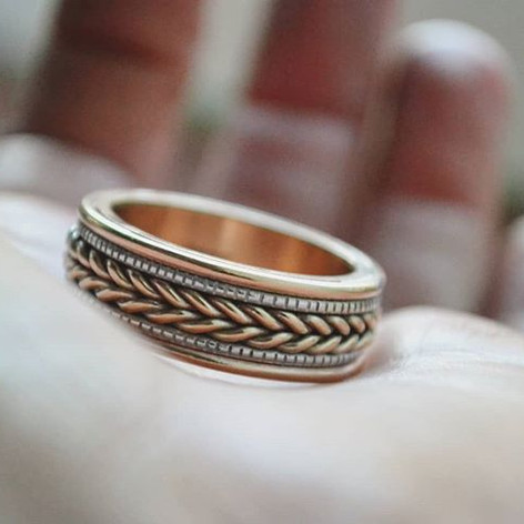 woven gold wedding band