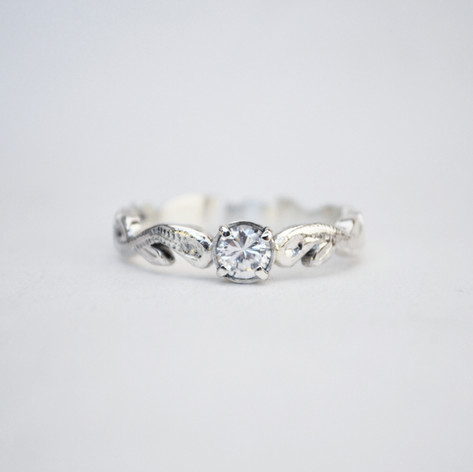 Diamond and White Gold Vintage Solitaire Ring.