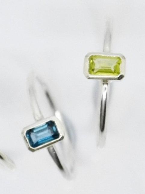 Emerald-Cut Gemstone Ring