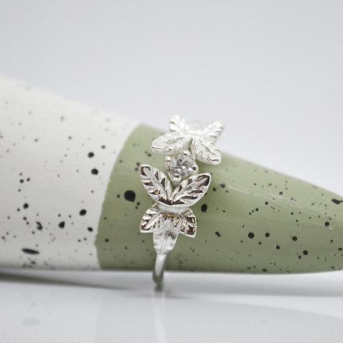 Silver Leaf Cluster Ring
