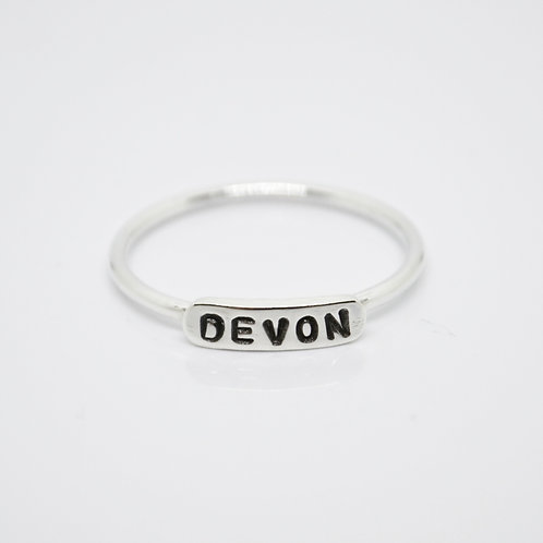 Silver Classical Name Ring