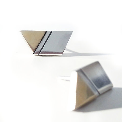 9ct Gold and Silver Trapezoid Studs.