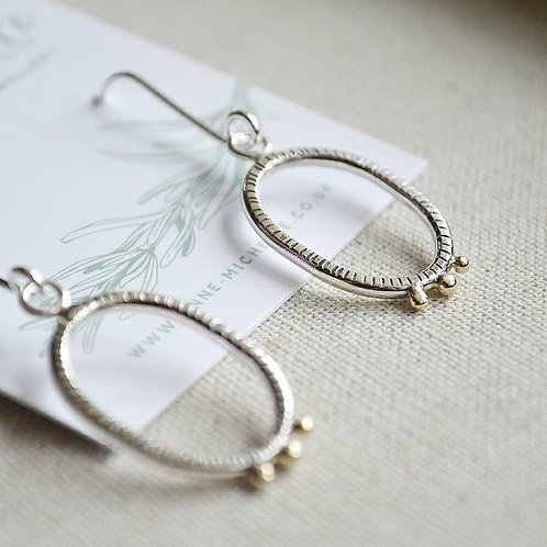Oval Shongololo Golden Drop Earrings