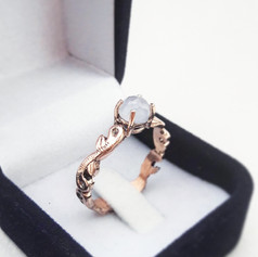 Rose Gold and Chelcedony Engagement Ring