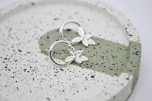 Silver Leaf Cluster Stud Earrings