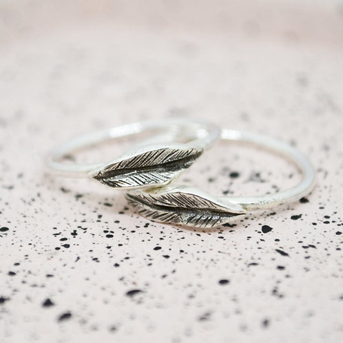 Silver Peace Lily Leaf Ring