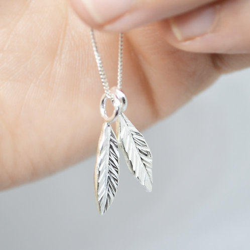 Double Silver Leaf Necklace