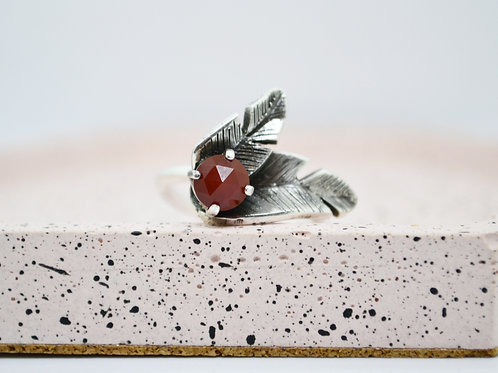 Carnelian and Silver Strelitzia Leaf Ring