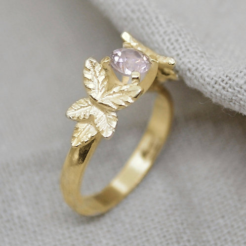 Gold Leaf & Rose Quartz Ring