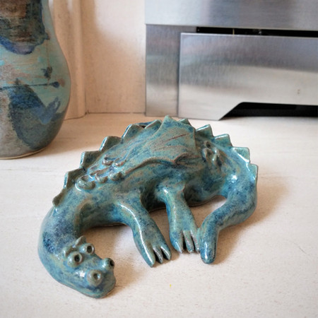 Blue green ceramic Dragon by Sarah Burton Pottery