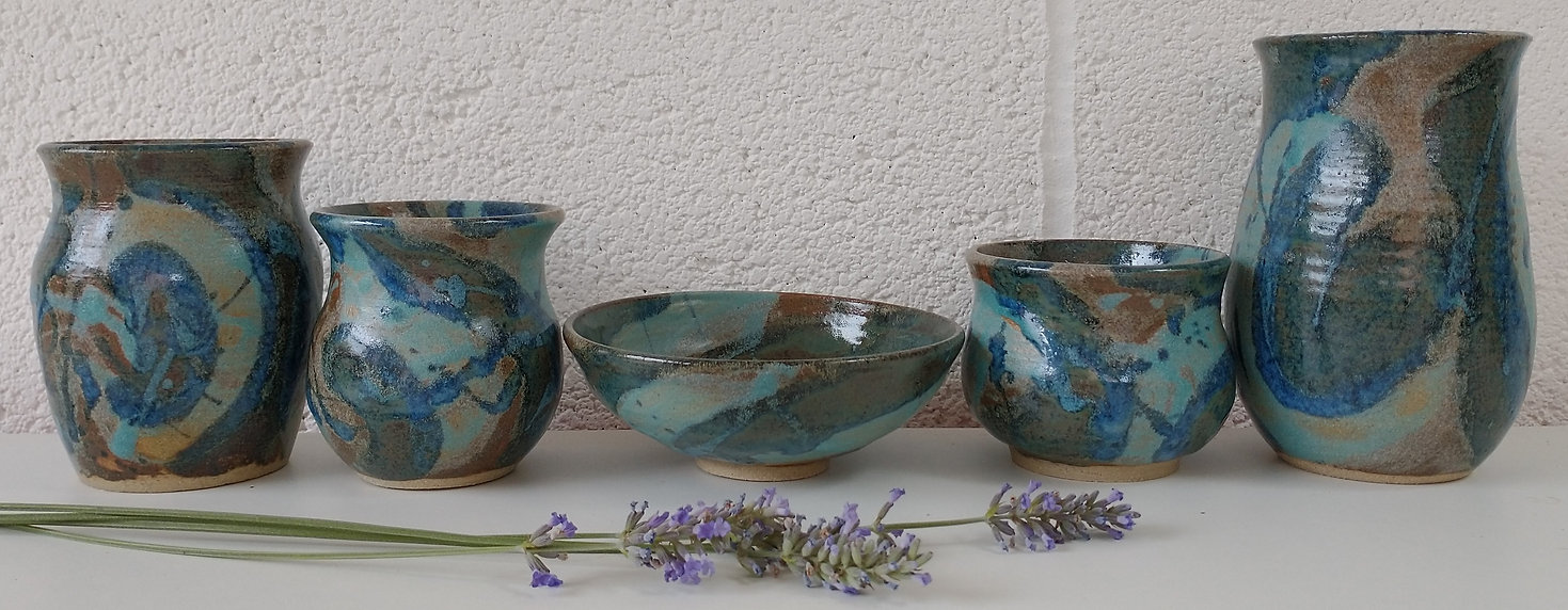 Turquoise and blue pots by Sarah Burton Pottery