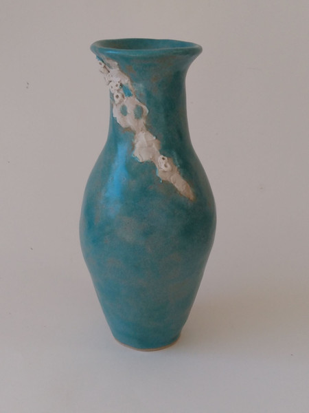 Tall turquoise barnacle vase by Sarah Burton Pottery available from my shop soon, send me an email for more information