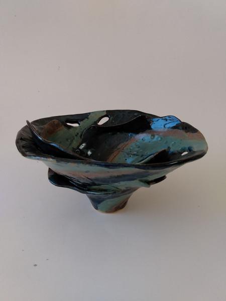 Layered Turquoise  bowl Sarah Burton Pottery