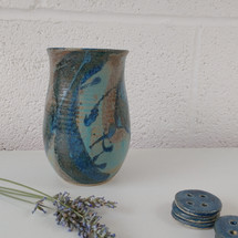 Turquoise ceramic vase and buttons by Sarah Burton Pottery SOLD similar vases available
