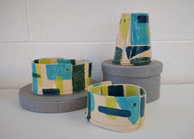 Ceramic block colour vessels by Sarah Burton Pottery