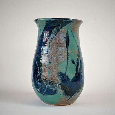 Tall Turquoise and blue vase by Sarah Burton Pottery.jpg