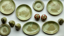 Ceramic apples and pears and abstract design plates by Sarah Burton Pottery available from my shop soon