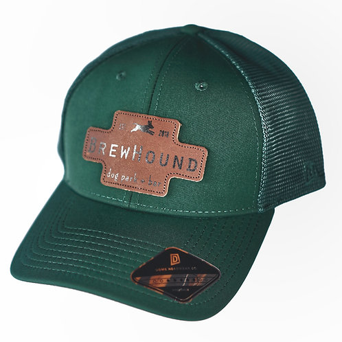 Brewhound Dog Park + Bar Hunter Green Leather Logo Trucker Cap