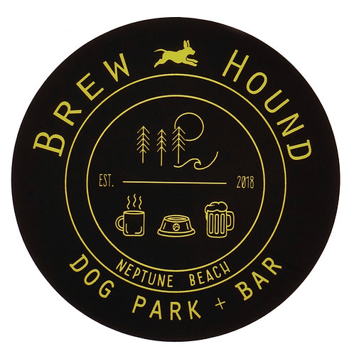 Brewhound Dog Park + Bar Black Logo Circle Black Sticker
