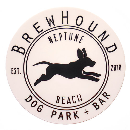 Brewhound Dog Park + Bar White Run Free Logo White Circle Sticker