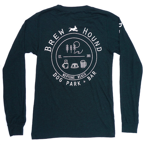 Brewhound Dog Park + Bar Heather Hunter Green Long Sleeve T-Shirt