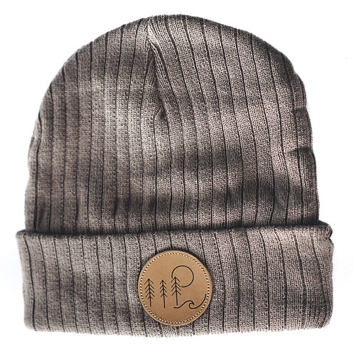 Brewhound Dog Park +Bar Grey Leather Nature Adventure Beanie