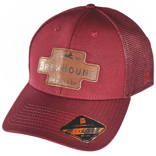 Brewhound Dog Park + Bar Maroon Leather Logo Trucker Cap