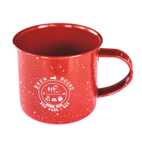 Brewhound Dog Park + Bar 16 oz Red Speckled Campfire Mug