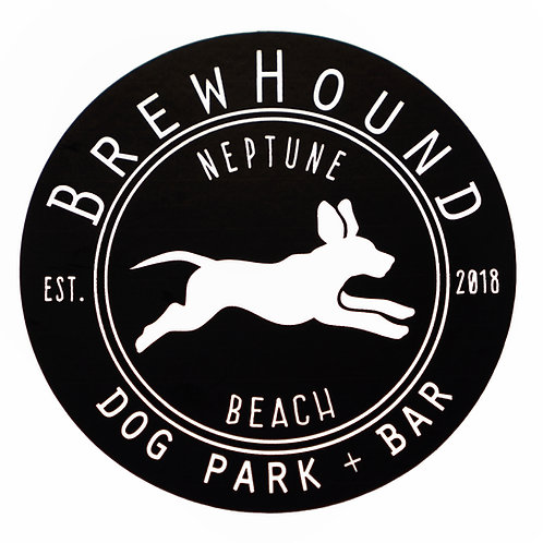 Brewhound Dog Park + Bar Black Run Free Logo Black Sticker