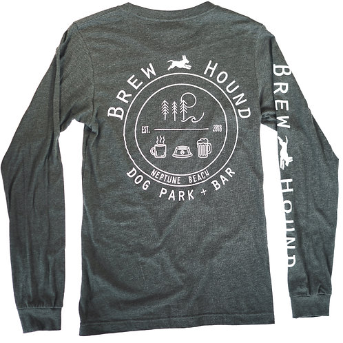 Brewhound Dog Park + Bar Heather Green Long Sleeve T-Shirt