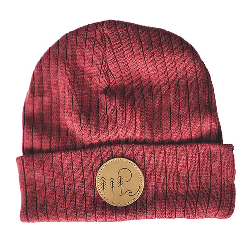 Brewhound Dog Park +Bar Maroon Leather Nature Adventure Beanie