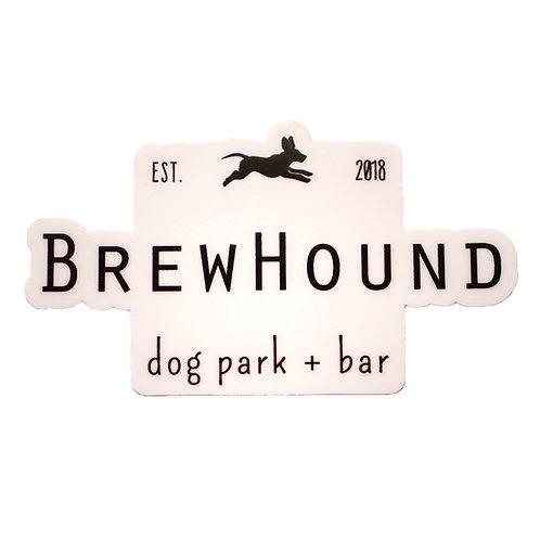 Brewhound Dog Park + Bar Run Free Die Cut White Sticker