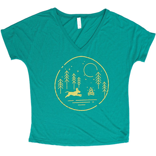 BrewHound Dog Park + Bar Green Campfire Slouchy V-Neck Tee