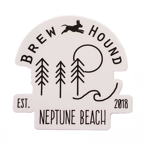 Brewhound Dog Park + Bar Nature Adventure White Sticker