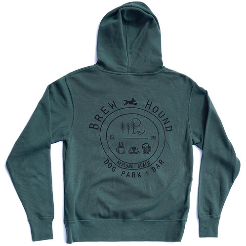 BrewHound Dog Park + Bar Green Pull Over Zip Hoodie