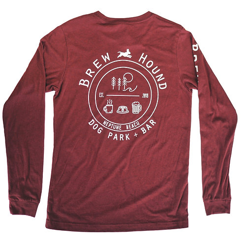 Brewhound Dog Park + Bar Heather Maroon Long Sleeve T-Shirt