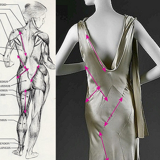 Diagram explaining the bias-cut, with dress by Madeleine Vionnet
