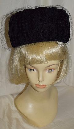 Vintage Black Velvet with Birdcage Pillbox Fancy Hat