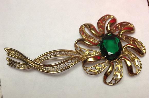 Large Vintage Flower Brooch Pin