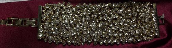 Costume Wide Rhinestone Bracelet Clear on Gold